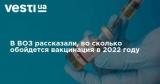 В ВОЗ рассказали, во сколько обойдется вакцинация в 2022 году